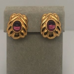 Clip on Gold and Purple Statement Earrings